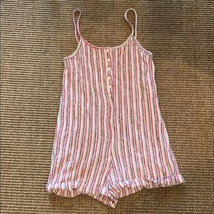 Zara Vertical Stripe Linen Romper w Front Buttons